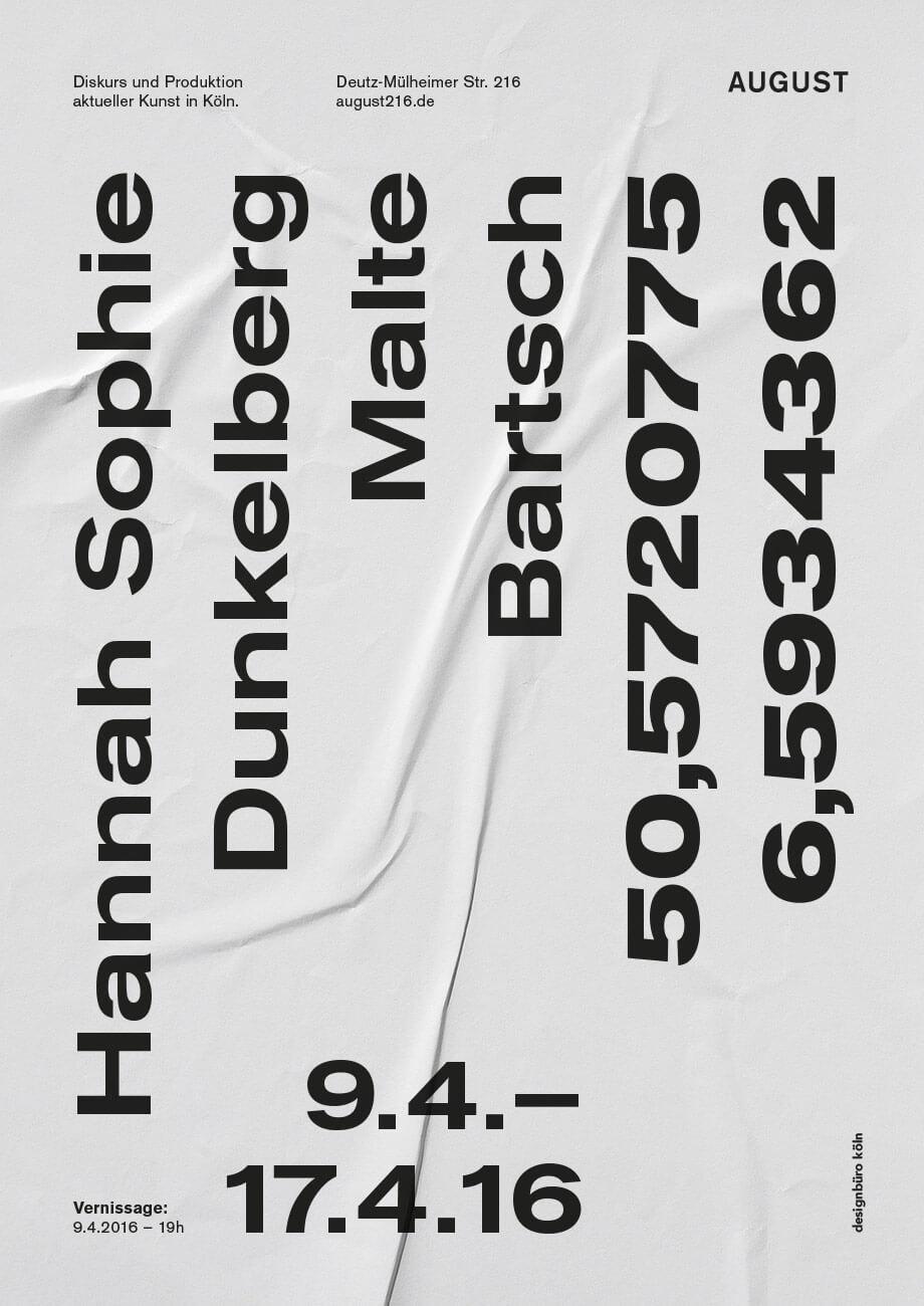 August_Dunkelberg_Bartsch_Art_Cologne_2016_A1 Hannah Sophie Dunkelberg & Malte Bartsch