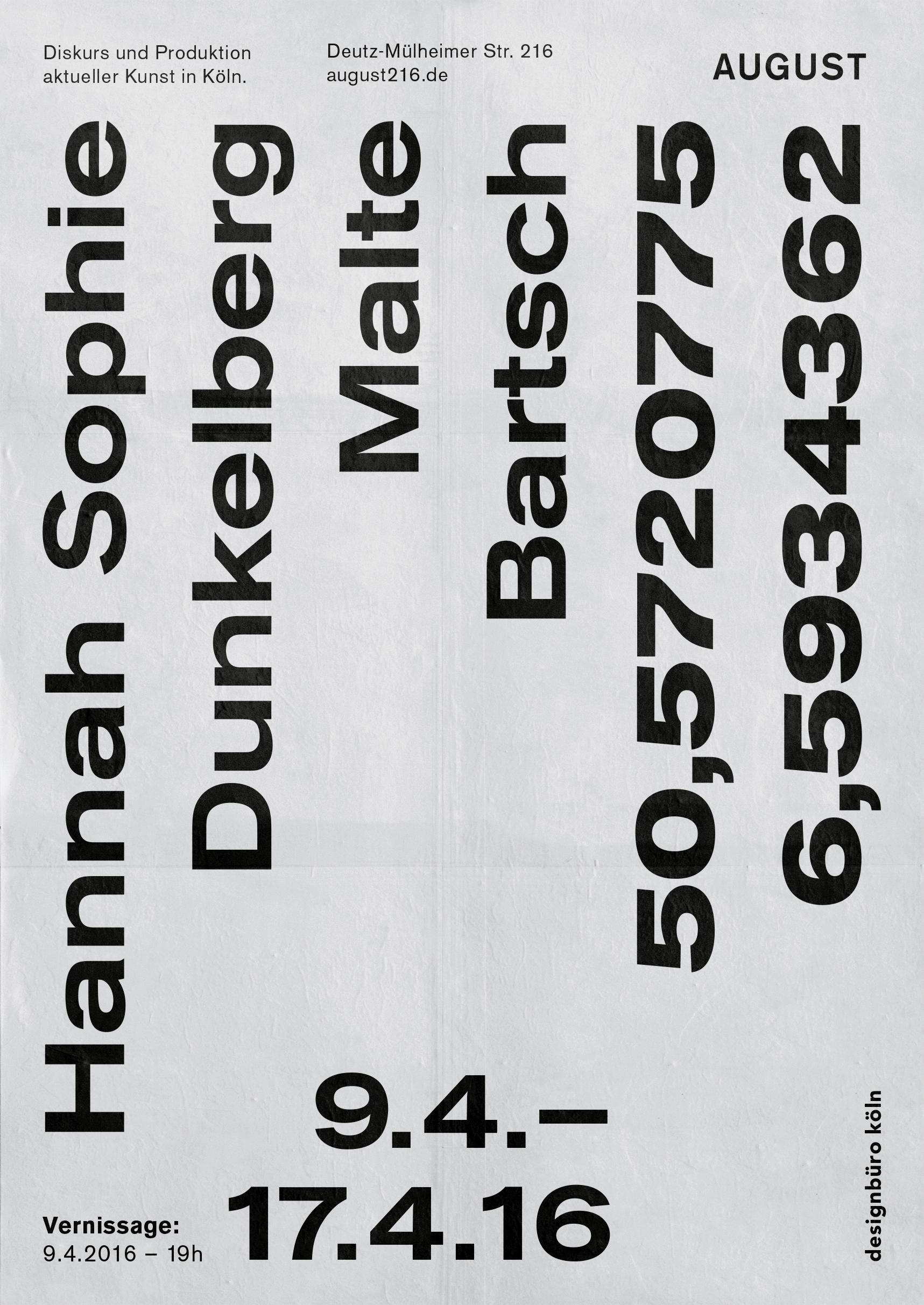 Poster |Malte Bartsch | Hannah Sophie Dunkelberg | Ausstellung | Typografie