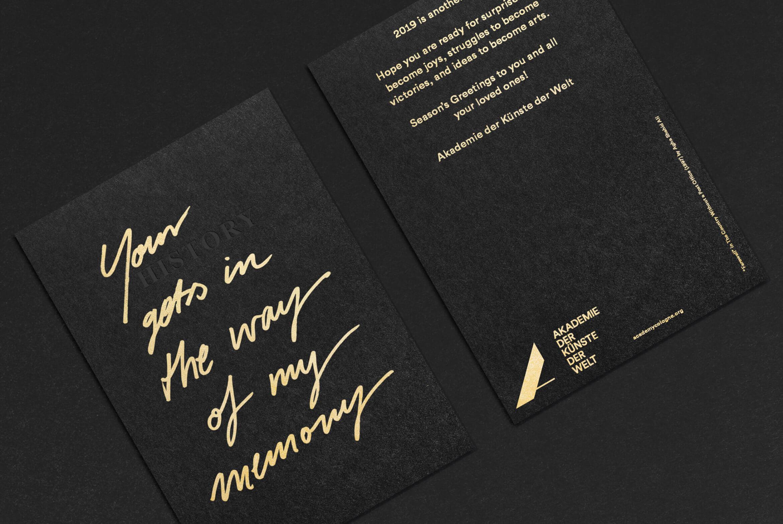 Daniel Angermann | Akademie der Künste der Welt/ Köln |Letterpress Giftcard | Veredelung